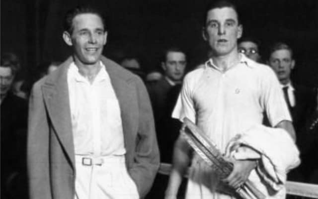 black and white photo of Fred Perry with another tennis player