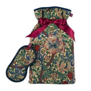 william morris eye mask and water bottle in william morris golden lily fabric