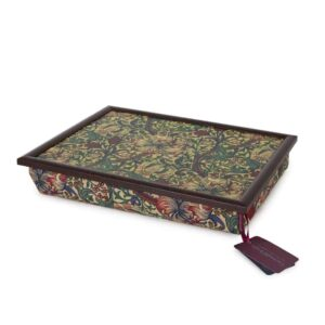 william morris lap tray fabric wool inners golden lily green and heath