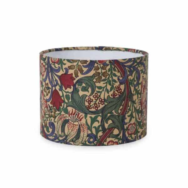 golden lily lampshade made in Uk from William morris fabric