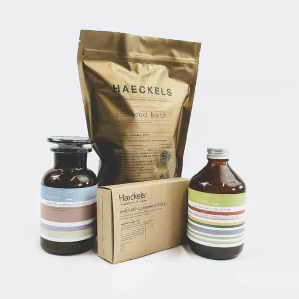 HAeckels bath gift set, traditonal seaweed bath, seaweed exfoliating block, seaweed body cleanser, seaweed bath salts, made in kent, seaweed skincare