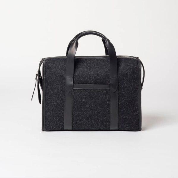 cherchbi black wool briefcase hand made bag in UK