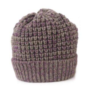 purple and grey hand knitted beanie british wool beanie