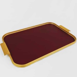 Burgundy And Gold British Made Small Tray