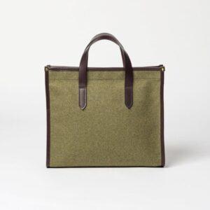 cherchbi library khkaki tote bag, handmade wool bag made in UK