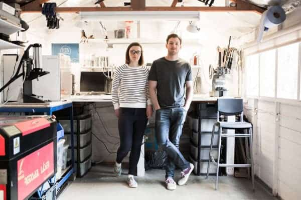 lucy and jamie founders of Banton Frameworks in workshop