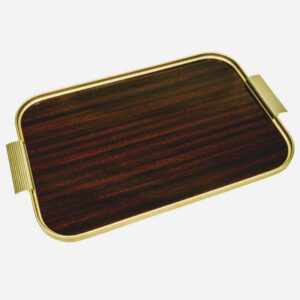 Kaymet British Made Mahogany And Gold Tray