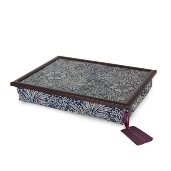 william morris marigold indigo lap tray soft padded lap tray in blue fabric by william morris