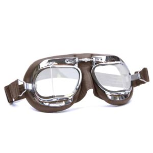 MK49 brown leather and chrome halcyon goggles, vintage car goggles for classic cars