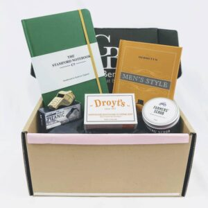 men's gift box with notebook, soap, men#s style, foot scrub and titanic whistle in gift wrapped box