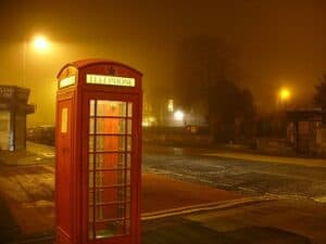 Portobellos old red phone booth in the fog 93248377
