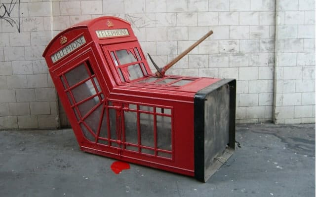 Red telphone box Blog page banksy 640x400 - Britain Calling - History of design icon.