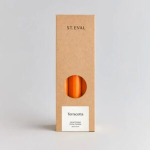 St Eval terracotta dinner candles, long thin dinner candles made in cornwall