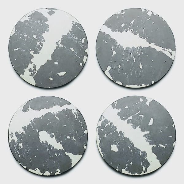concrete and wax Set of four grey white splatter concrete coasters, grey concrete drinks coasters, coasters with felt bottoms, designer grey drinks coasters