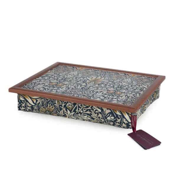 william morris snakehead fabric soft wool filled lap tray