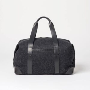 cherchbi large black woollen holdall hand made in uk with leather straps