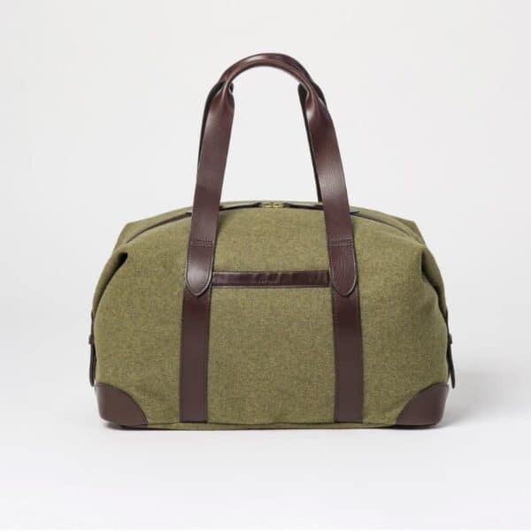 cherchbi large squires khaki wool hall bag made in UK weekender holdall bag in green