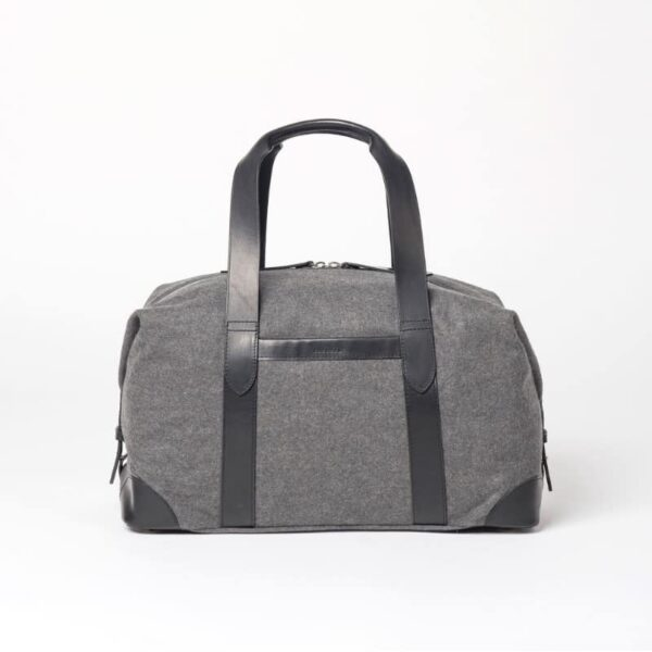 cherchbi large grey woolen squires holdall hand made in Uk with leather straps