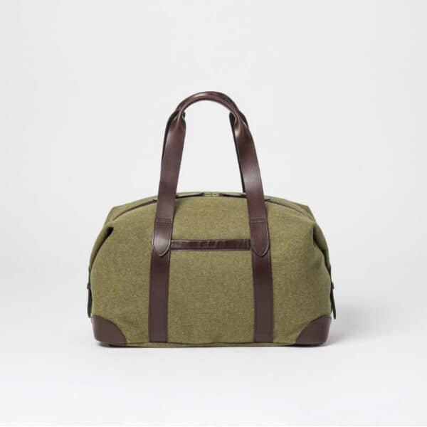 cherchbi squires holdall with leather straps in Khaki, khaki bag hand made in UK holdall