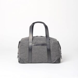 cherchbi medium wool holdall, weekender bag handmade in Uk with leather starps
