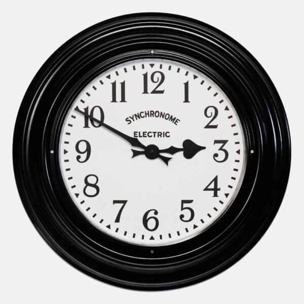 Synchonome Black Museum clock arabic numerals, black factory clock, black wall clock, large kitchen wall clock