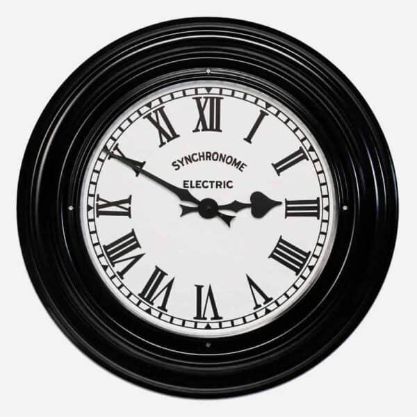 Synchonome Black Museum clock roman numerals, metal wall clock, black museum metal clock, metal kitchen clock