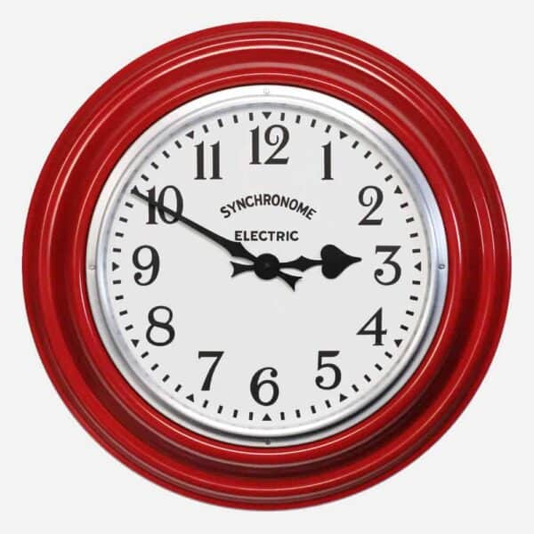 Synchonome clocks GPO RED clock arabic numerals, large kitchen clock, handmade wall clock