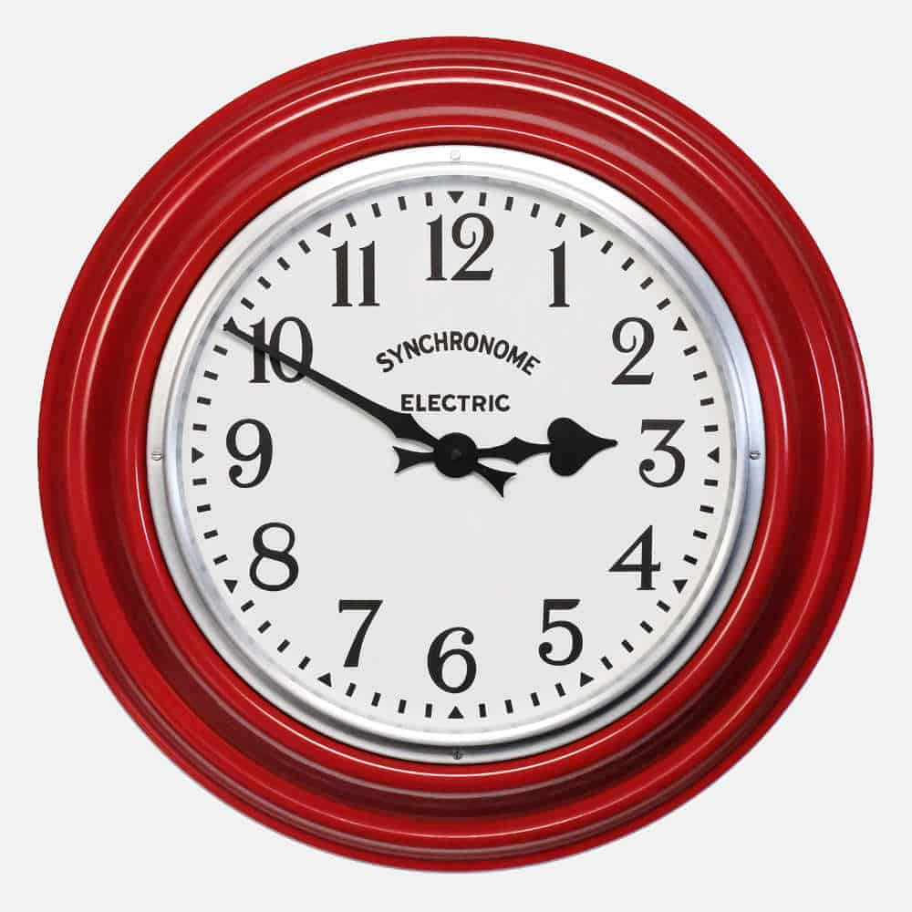 Synchonome GPO RED clock arabic numerals front