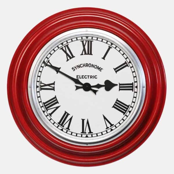 Synchonome GPO RED clock roman numerals, red factory clock, handmade wall clock