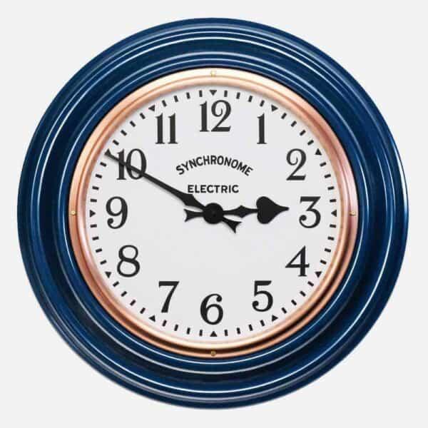 Synchonome clocks blue clock arabic numerals, handmade blue kitchen clock, wall clock