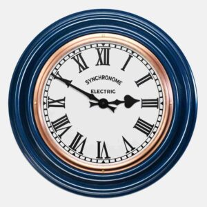 Synchonome clocks blue clock roman numerals, blue factory wall clock, handmade kitchen clock, british made wall clock