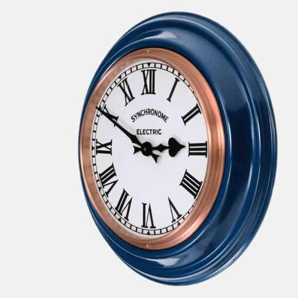 Synchonome blue clock roman numerals side