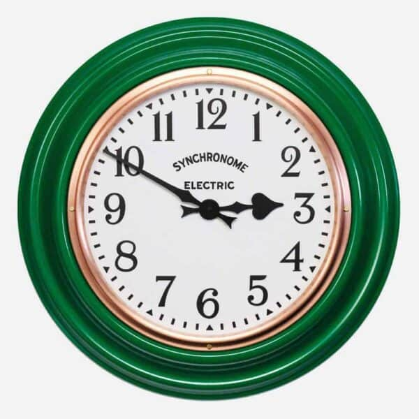 Synchonome clocks green clock arabic numerals green classic factory clock, hand made factory clock, traditional wall clock