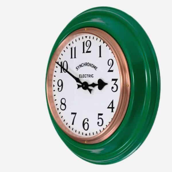 Synchonome green clock arabic numerals side