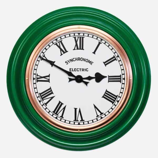Synchonome clocks green clock roman numerals, green factory clock, classic wall clcok, synchronome factory clock