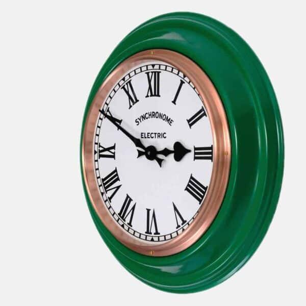 Synchonome green clock roman numerals side