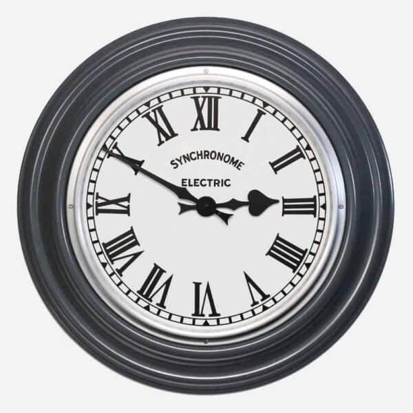 Synchonome clock hooton grey clock roman numerals, classic factory clock, traditional handmade clock, grey clock