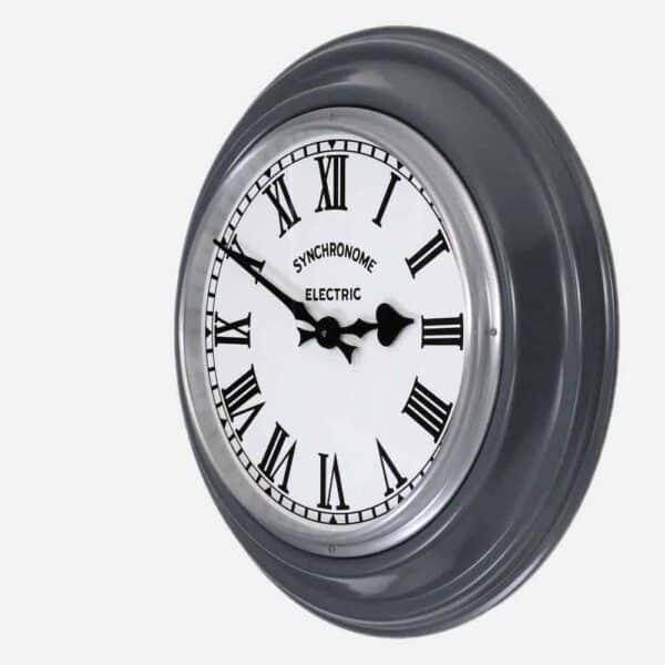 Synchonome hooton grey clock roman numerals side