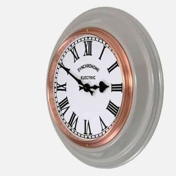 Synchonome underground grey clock roman numerals side