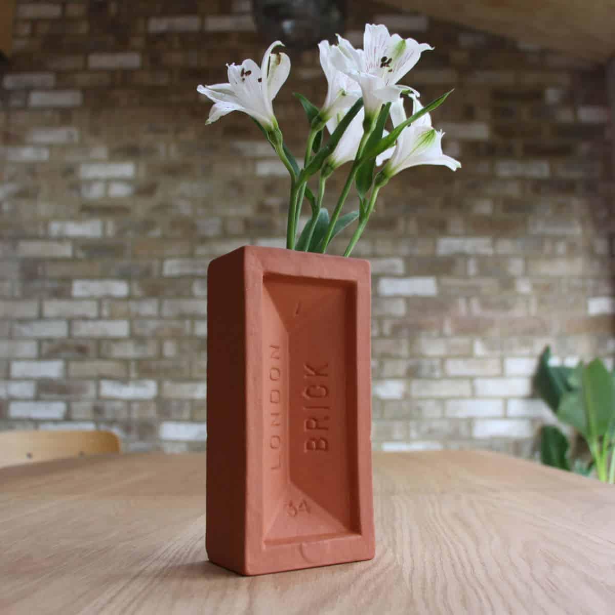 Terracotta brick vase in situ