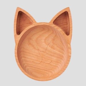 The Wooden Fox Plate For Children grey background