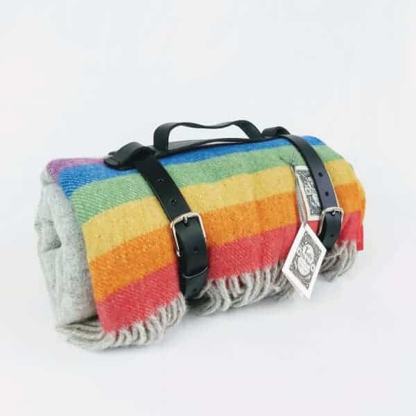 Tolly mcrae rainbow picnic blanket, luxury blanket rainbow coloured with leather carrying strap