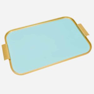 Handcrafted Turquoise And Gold Kaymet Tray
