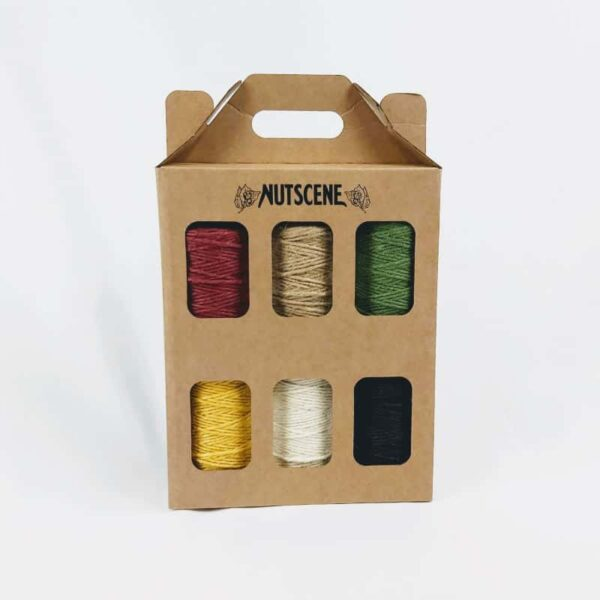 nutscene 6 jute Twine spools box of coloured jute twine spools