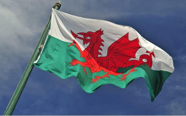 Welsh flash flying from flag pole