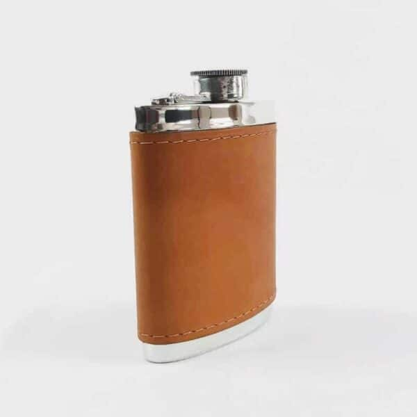 Wentworth pewter English tan leather hip flask with tan leather surround 6oz hip flask silver hip flask, made in sheffield hip flask
