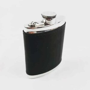 Pewter and Black Leather Hip Flask