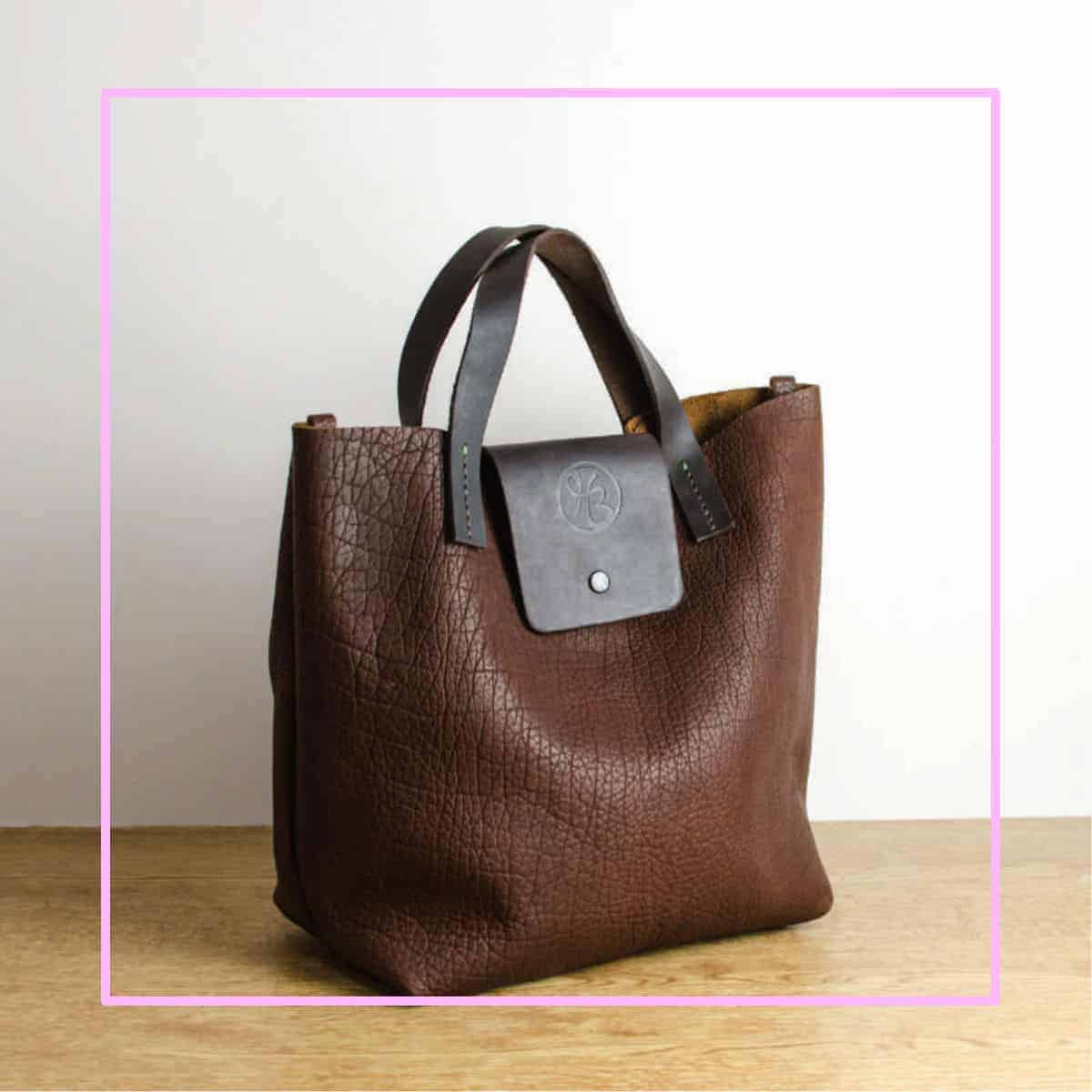 bison leather tote pink frame heather borg