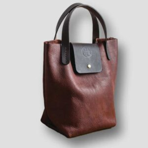heather borg RAISIN BISON LEATHER TOTE BAG, british made leather handbag, made in UK leather bag
