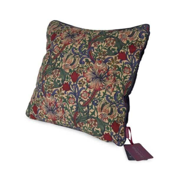 william morris golden lily fabic cushion with wool filling